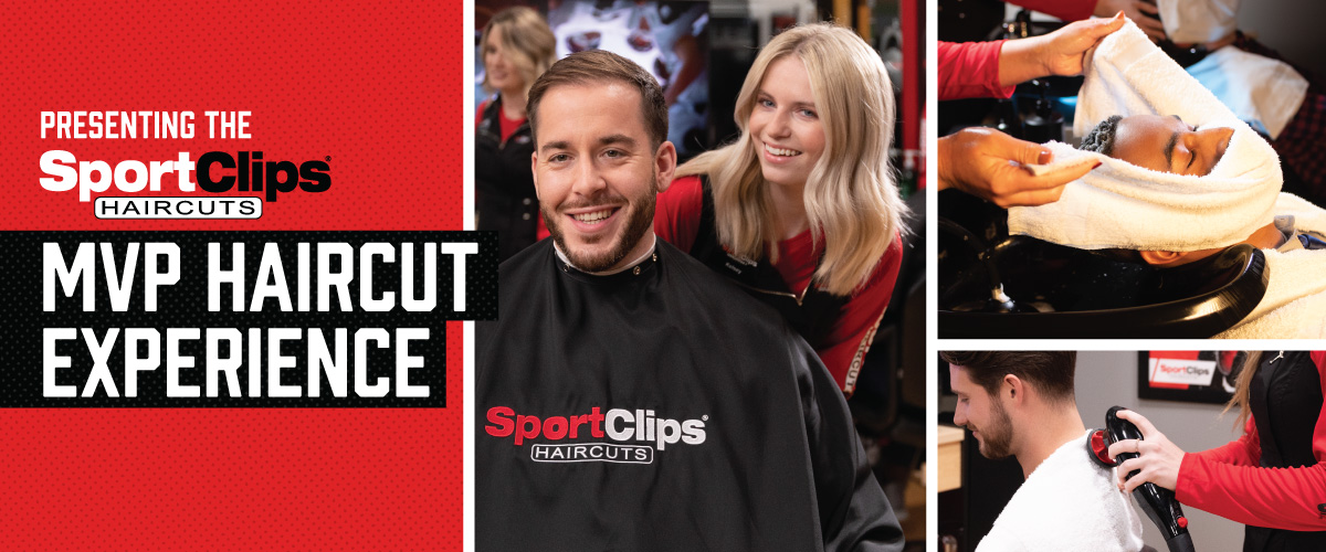 The Sport Clips Haircuts of Thornton MVP Haircut Experience with stylist giving a client a haircut, a hot towel placed on his face, and using a massager on a clients upper back